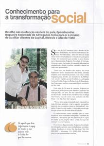 Conhecimento para a transformação social, na Edição Melhores do Ano da Revista Empreendedores, do Jornal O Vale, de 2017.