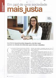 Em prol de uma sociedade mais justa, na Edição Melhores do Ano da Revista Empreendedores, do Jornal O Vale, de 2018.